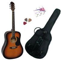 Msa - Pack Guitare Acoustique Folk Sunburst 3 Accessoires