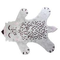 Nattiot - Tapis Little Fox le renard lavable par - Couleur - Gris, Taille - 100 / 120 cm
