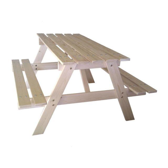 Habitat et jardin table pique nique en bois pour enfants 90x70cm pas cher achat vente - Table jardin enfant bois ...