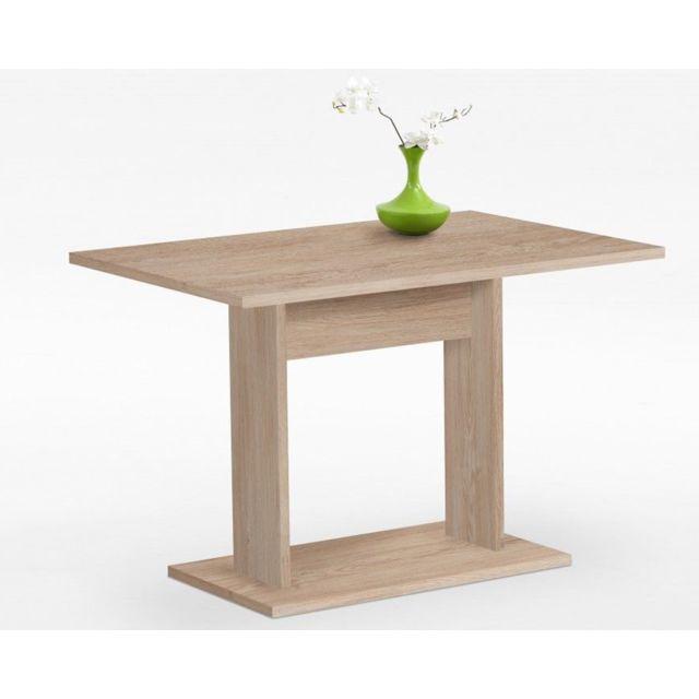 Pegane Table de salle à manger coloris chêne - Dim : 110 x 77,5 x 70 cm