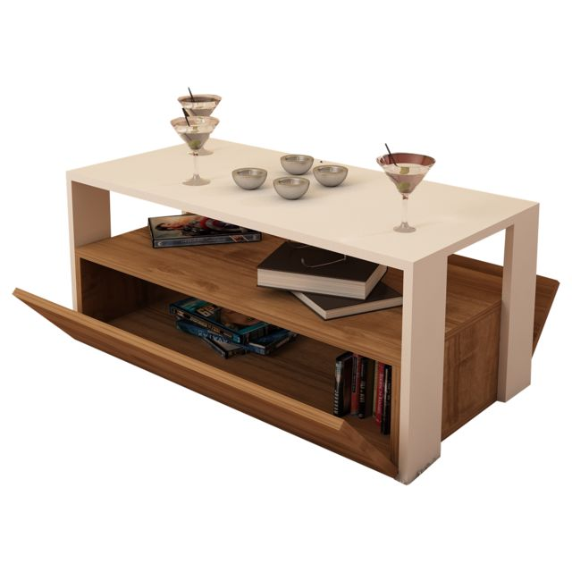 Alphamoebel Table basse Balina blanc-noyer 40x90x45 cm