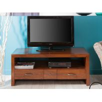 Haveli Republic - Meuble Tv 3 tiroirs 1 niche en bois L120xH48cm Freesia
