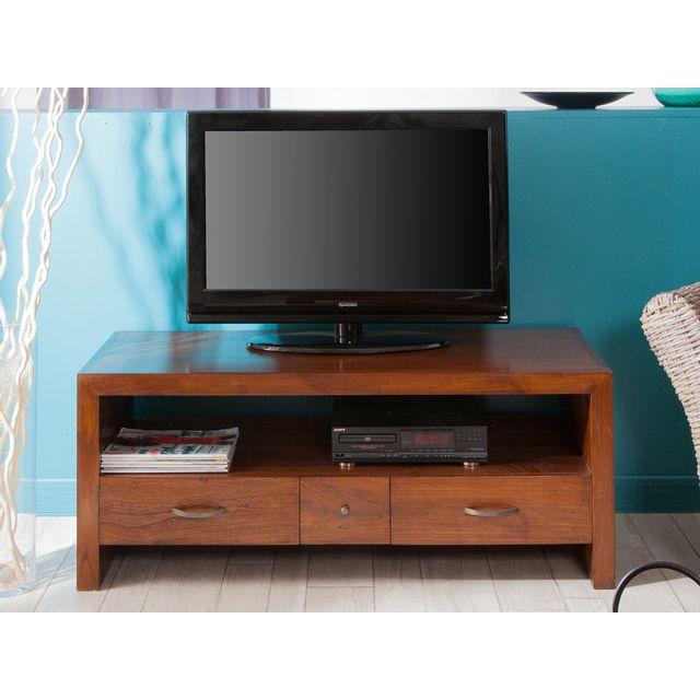 Haveli Republic Meuble Tv 3 tiroirs 1 niche en bois L120xH48cm Freesia