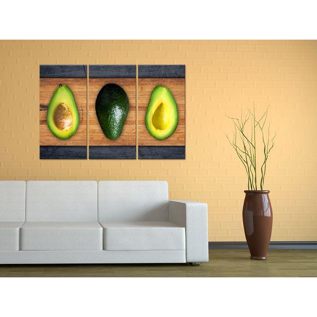Declina - Tableau triptyque cuisine avocats sur toile - Décoration 80cm x 120cm