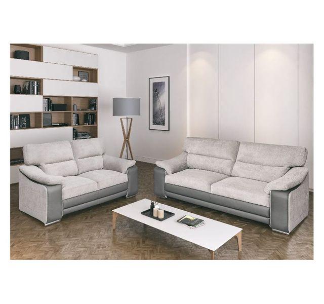 c43541d411961 CHLOE DESIGN - Canapé 3+2 design BAILA - blanc et gris Achat   Vente ...