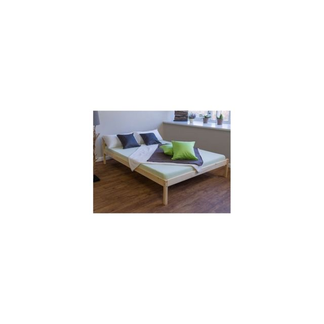 Homestyle4U Lit en bois massif lit lit de 200 x 140 en nature nouvelle a lattes cadre