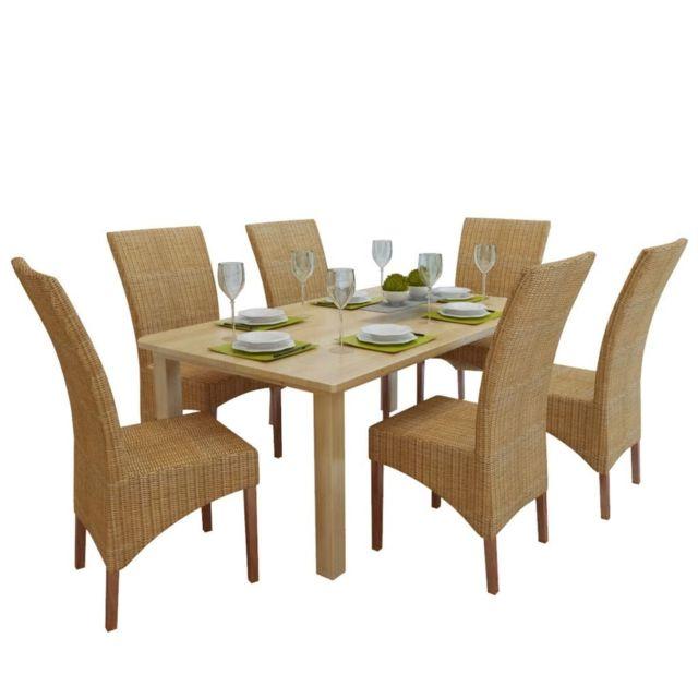 Chaises de salle à manger 6 pièces en rotin marron 274205 | Brun