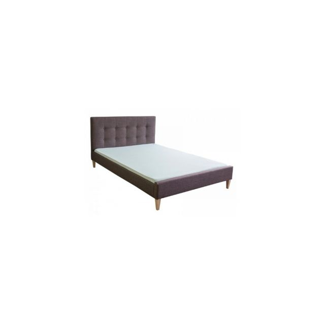 Homestyle4U Lit rembourre tissu lit lit 140 x 200 brun