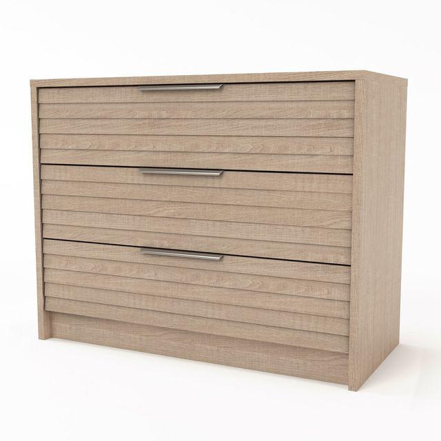 Marque Generique Commode 3 tiroirs en bois et poignées métal Longueur 116 cm Ambrosia