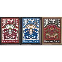 Bicycle - Set de 3 jeux de cartes Dragon 1 bleu. 1 rouge et 1 gold