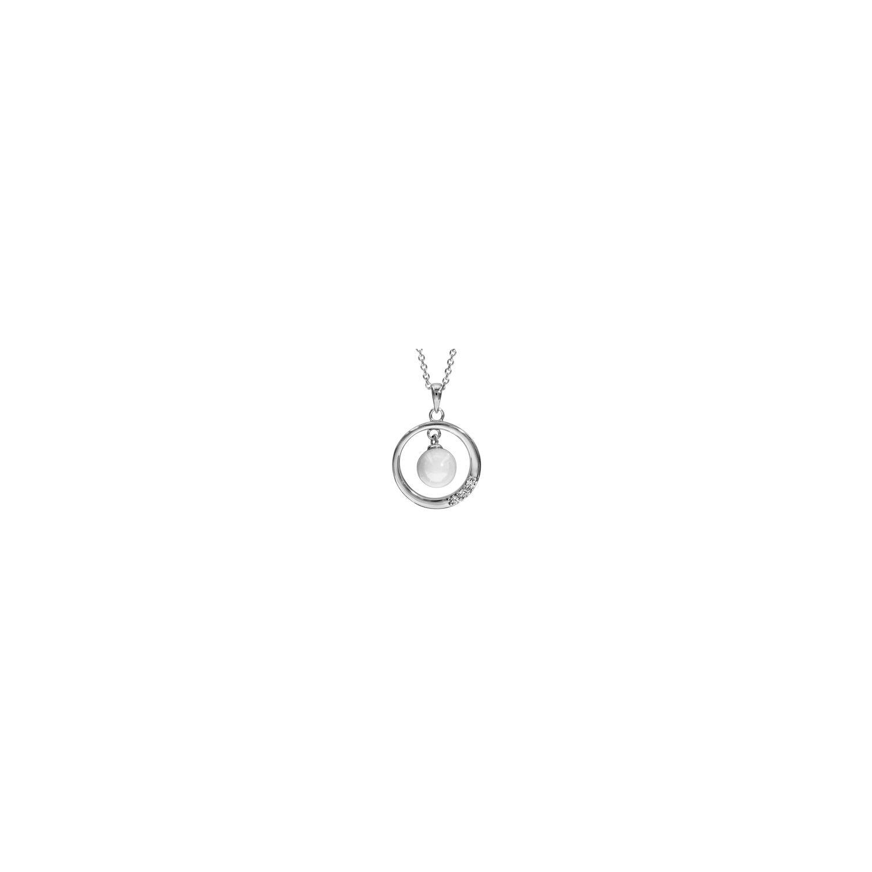 2c2497fff73 1001BIJOUX- Collier argent rhodié pendentif cercle avec boule céramique  blanche 42+3cm
