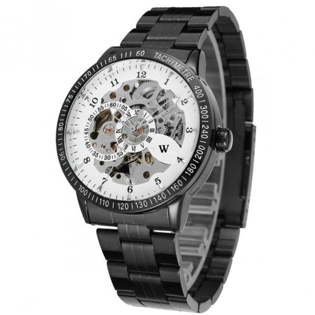 w montre homme automatique acier noir w3 pas cher achat vente montres homme rueducommerce. Black Bedroom Furniture Sets. Home Design Ideas