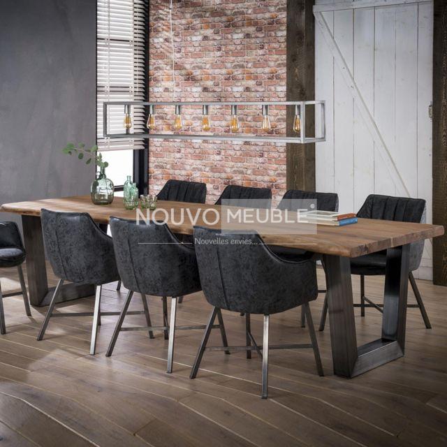 Nouvomeuble Table à manger 300 cm en bois massif Britana 3