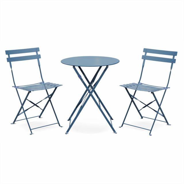 ALICE'S GARDEN Salon de jardin bistrot pliable Emilia rond bleu grisé, table Ø60cm avec deux chaises pliantes, acier thermolaqué, chais