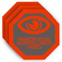 Cfp Securite - Stick-10 - Trois autocollants dissuasifs vidéo surveillance pour portail