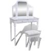 Rocambolesk - Superbe Coiffeuse blanche 2 tiroirs avec 1 tabouret et 1 miroir 3 en 1 neuf