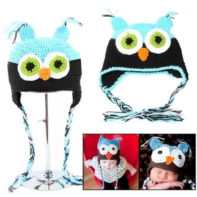 cb400ed663ad Wewoo - Bonnet Chapeau pour bébé noir Hibou Style pure laine tissée à la  main chaude
