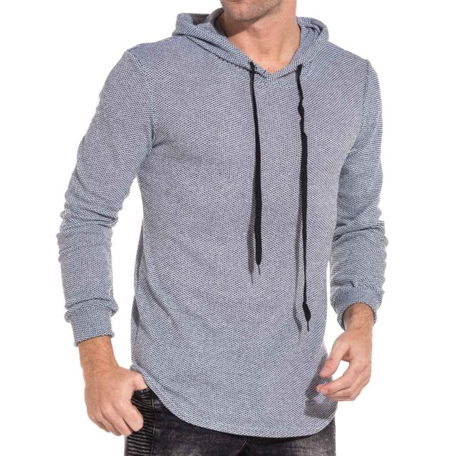 pull à capuche maille fin homme