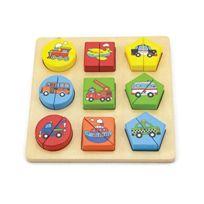 Viga Toys - Viga - 2043551 - Puzzle En Bois - Formes GÉOMÉTRIQUES - VÉHICULES