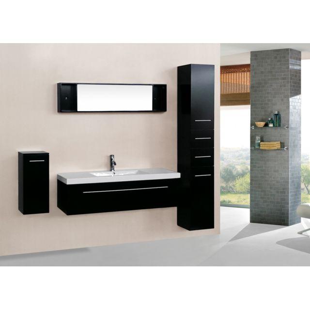 Agathe Wenge : ensemble salle de bain 3 meubles + 1 vasque + 1 miroir