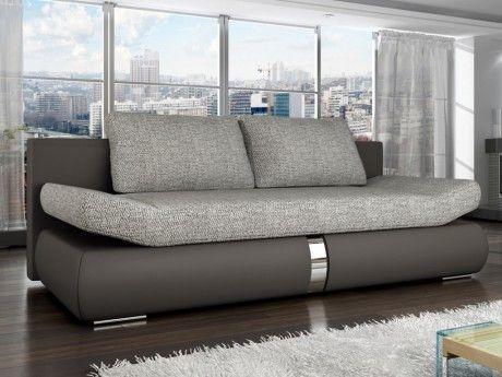 Canapé 2 places convertible Jaden en tissu et simili - Bicolore taupe et gris clair