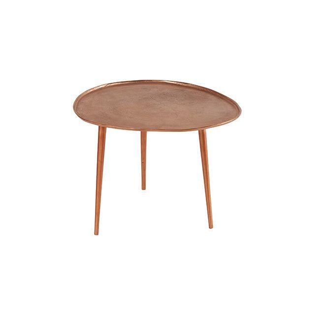 Table Basse Galet 60x55xH45cm en aluminum cuivré