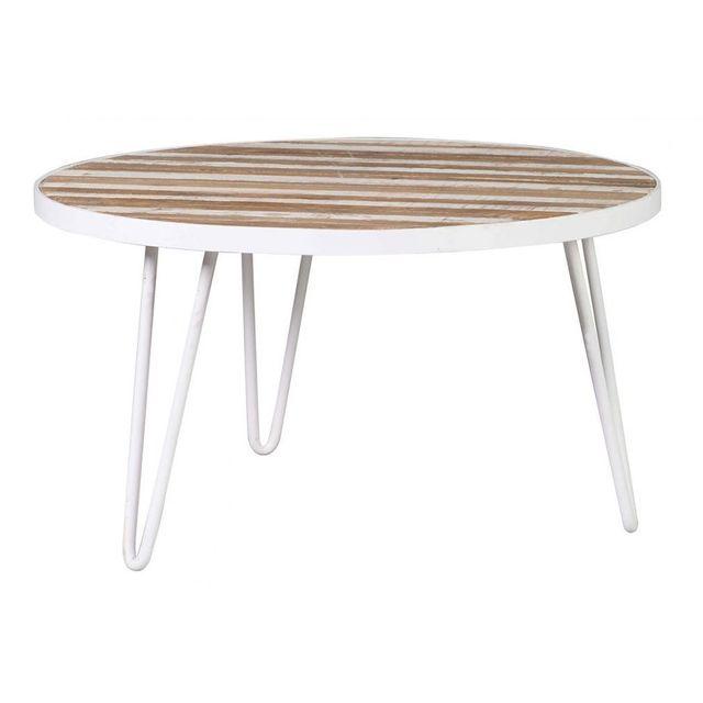 Miliboo Table Basse Ronde Bois Et Métal Blanc 80x45 Rochelle Pas
