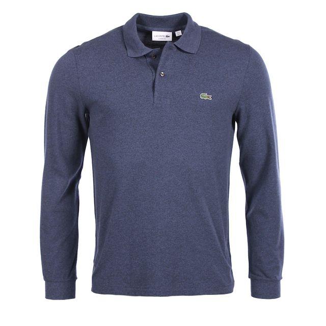 eab9b5b50272 Lacoste - Lacoste Homme - Polo bleu indigo coton piqué classic fit manches  longues L1313