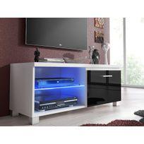 Comfort - Home Innovation - Meuble de télévision Led, Meuble de salon, Blanc et Noir Laqué, Dimensions: 100 x 40 x 42 cm de profondeur