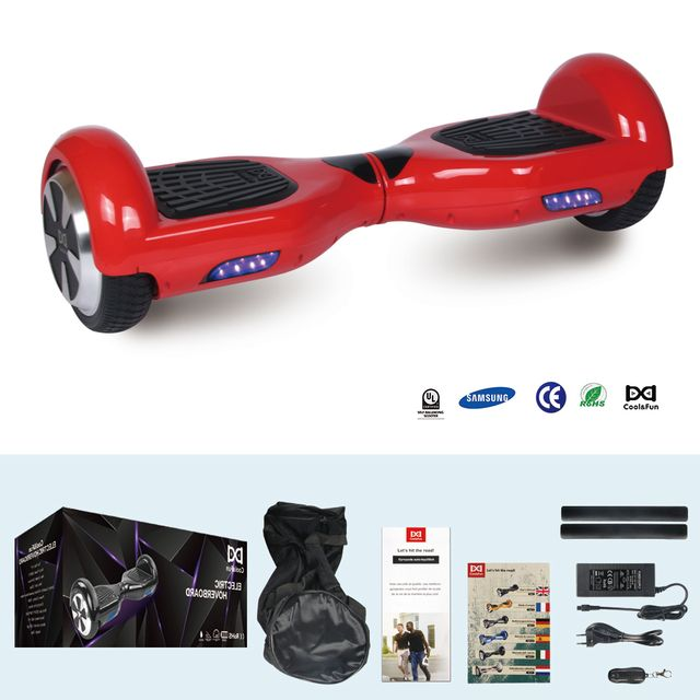 COOL AND FUN - COOL&FUN Hoverboard Batterie Samsung, gyropode 6,5 pouces Rouge