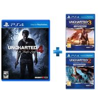 SONY - Uncharted 4: A Thief\'s End + Uncharted 3 : L'Illusion de Drake - PS4 + Uncharted 2 Among Thieves - PS4