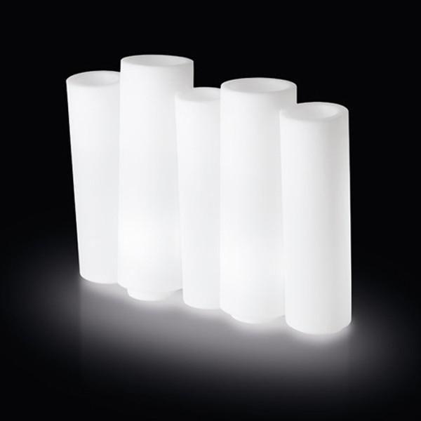 Slide - Bamboo Light - Vase lumineux d'extérieur Blanc H80cm