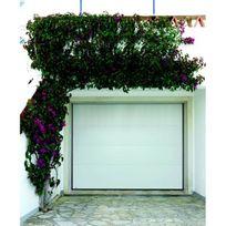 Sonnier Bois Panneaux Menuiserie - Porte de garage sectionnelle motorisée finition blanc avec 4 panneaux lisses