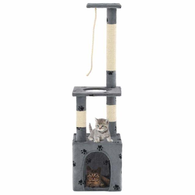 Helloshop26 Arbre à chat griffoir grattoir niche jouet animaux peluché en sisal 109cm gris motif de pattes 3702205