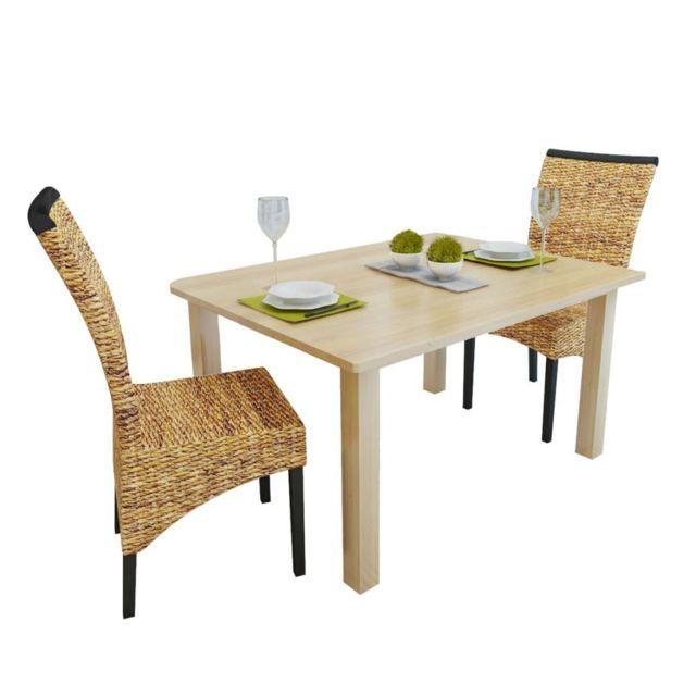 Chaise de salle à manger 2 pcs Abaca Marron | Brun