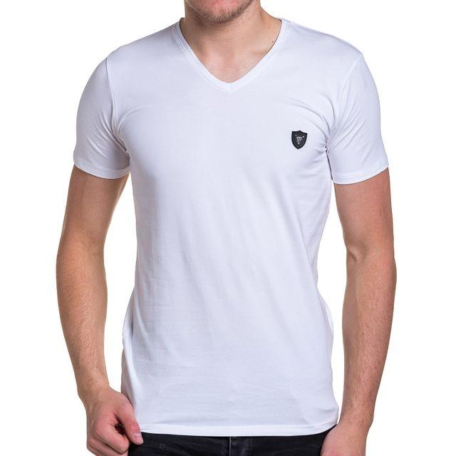 BLZ JEANS Tee-shirt homme basic blanc col V