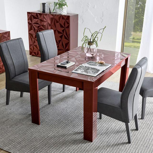 Sofamobili Table 140 cm extensible design rouge laqué Antonio 2