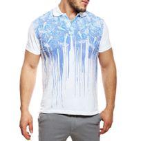 Just Cavalli - Polo homme manches courtes imprimé blanc / bleu