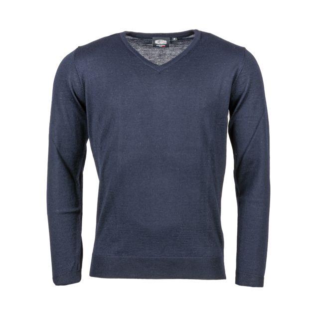 DELAHAYE Pull coll V en laine mélangée bleu marine