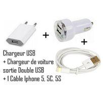 Cabling - Chargeur allume cigare double Usb + prise + câble Usb pour Apple iPhone 5, iPod touch 5e génération, iPod nano 7e génération, iPad Mini
