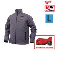Milwaukee - Veste chauffante grise M12 Hj Grey3-0 taille L 4933451593 - Batterie M12 2.0Ah et chargeur C12C 4933451900