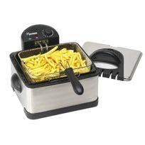 BESTRON - Maxi Friteuse en inox; Cuve émaillée de 4,5L; 2 petits paniers et/ou 1 grand panier - pour 1,5Kg frites - 2000W