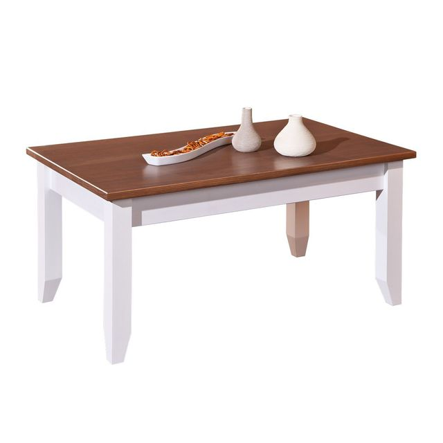 Comforium Table basse contemporaine 90 cm en pin massif coloris blanc et bois vernis