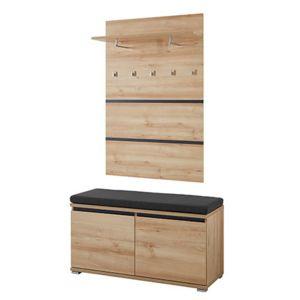 meuble banc chaussures 8 paires avec coussin avec vestiaire en bois pas cher achat vente. Black Bedroom Furniture Sets. Home Design Ideas