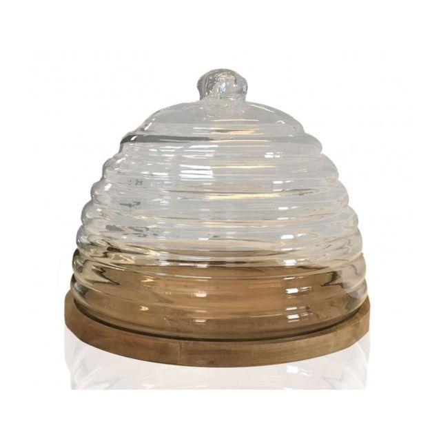wadiga plateau fromage ou g teau en bois et cloche en verre rond pas cher achat vente. Black Bedroom Furniture Sets. Home Design Ideas