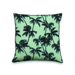 Coussin Palme motif palmiers L.45 x l.45 cm vert d'eau et noir Nc - 0cm x 0cm