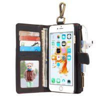 Wewoo - Housse Étui noir pour iPhone 6 Plus et 6s Plus en cuir  multifonctionnel avec 698915e3525