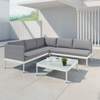 Jun - Ensemble salon de jardin raffiné en aluminium et résine tressée -  gris/blanc - intérieur/extérieur