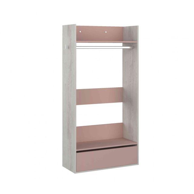 TERRE DE NUIT Dressing enfant en bois grisé et rose - DR9020