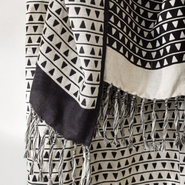 Today - Plaid à franges Xl 150x200cm 100% coton Noir, Beige